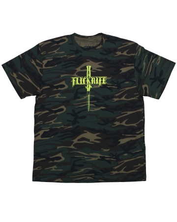 flicknife clothing for skateboarding london skateboarder camo logo tshirt