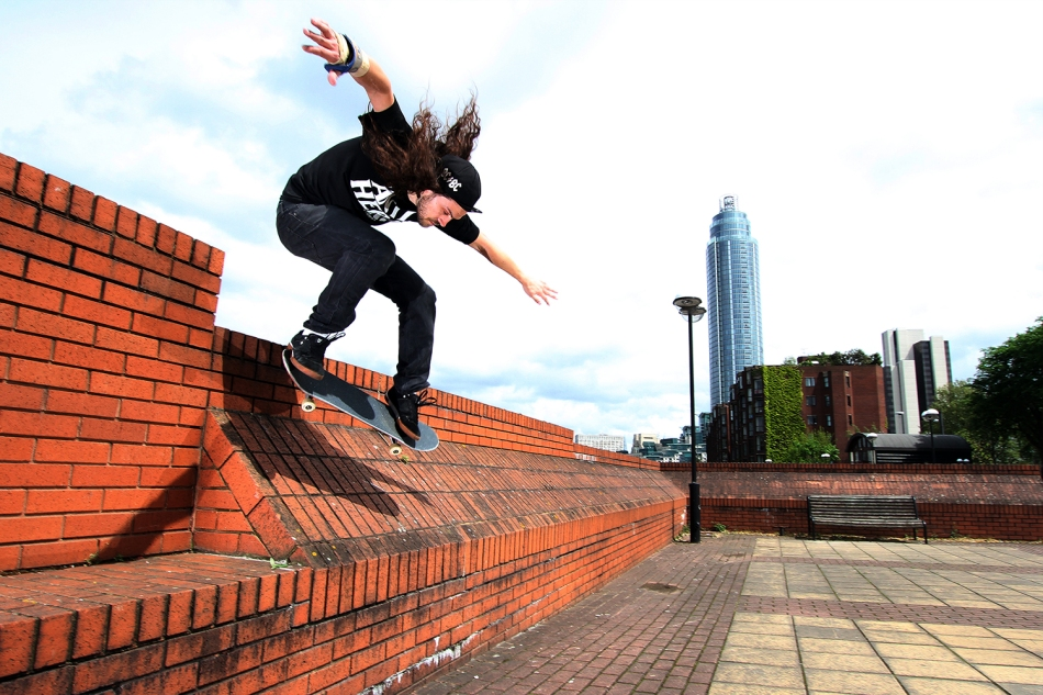 ollie into bank drop martin thomas london skateboarding flicknife clothing for skateboarding