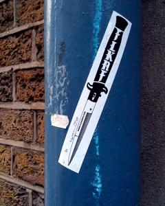flicknige clothing knife skateboard stickers london skateboarding